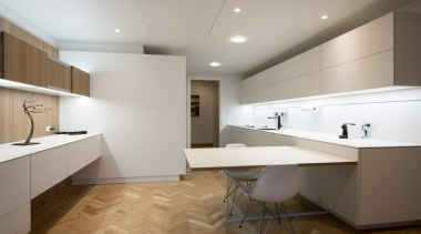 Highly Commended – Akzente – ​poggenpohl - architecture architecture, cabinetry, ceiling, countertop, floor, flooring, interior design, kitchen, real estate, room, sink, gray