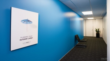 Above Welcoming blue paint begins in reception and teal