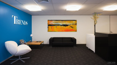 Top The reception in the Trends Centre is ceiling, conference hall, interior design, office, wall, gray, black