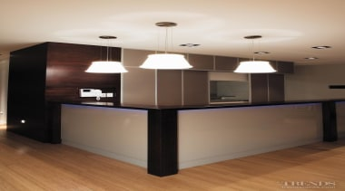 Below lower The modern, industrial hanging light in cabinetry, ceiling, floor, flooring, furniture, hardwood, home, interior design, lighting, property, wall, wood, brown, white