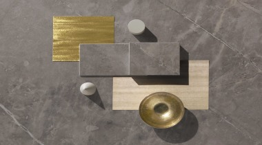 Moodboard – Dekton Korso - brass | metal brass, metal, gray