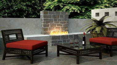 Outdoor Gas Fires - chair | furniture | chair, furniture, hearth, living room, outdoor structure, patio, table, wall, black, gray