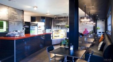 Yellowfox designed the upgrade of Café Trends, using countertop, interior design, kitchen, real estate, blue
