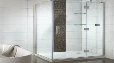 Combine the sleek modern styling of frameless glass angle, bathroom, bathroom accessory, glass, plumbing fixture, shower, shower door, tile, white, gray