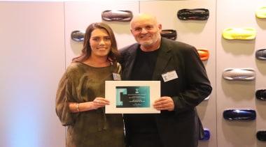 Kyla Potter and David Johnson - award | award, electronic device, event, job, white