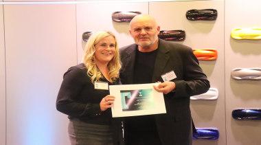 Laura Ellis and David Johnson - award | award, award ceremony, event, job, smile, white