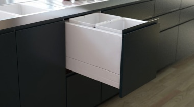 To find out more, visit https://www.fit-nz.co.nz/Tanova_Deluxe_Kitchen_Bin_Systems bathroom cabinet, cabinetry, chest of drawers, countertop, drawer, floor, furniture, kitchen, product, sideboard, sink, tile, black, gray