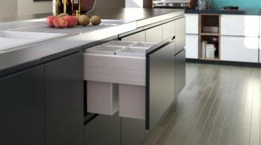 Tanova Deluxe pull out kitchen rubbish bins feature cabinetry, countertop, cuisine classique, floor, flooring, furniture, hardwood, interior design, kitchen, wood, gray, black