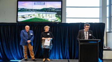 2019 TIDA New Zealand Homes presentation evening company, convention, display device, electronic device, event, job, media, product, speech, stage equipment, technology, black, blue