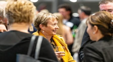 2019 TIDA New Zealand Homes presentation evening conversation, crowd, event, human, interaction, people, yellow, black