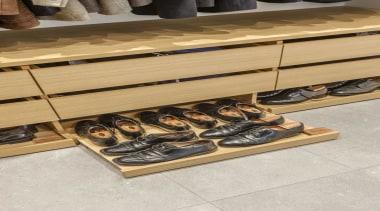Wardrobe 2 - floor | flooring | footwear floor, flooring, footwear, furniture, shoe, table, wood, gray, orange