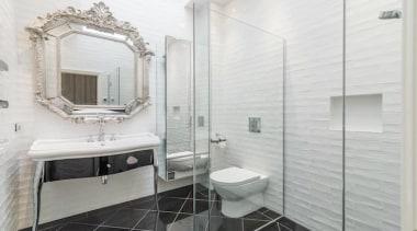 Winner – Emma Morris Eterno Design - bathroom bathroom, floor, flooring, home, interior design, plumbing fixture, room, tile, white, gray