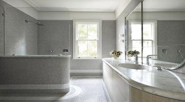 Winner Architect Designed Bathroom – Sjb Interiors bathroom, countertop, floor, home, interior design, real estate, room, sink, window, gray, white