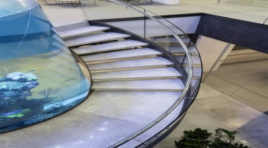 Zorzi Homes - architecture | daylighting | glass architecture, daylighting, glass, handrail, reflection, stairs, structure, water, gray, teal