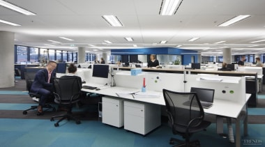 Schiavello workstations feature throughout the new Aurecon offices. office, gray, white, black