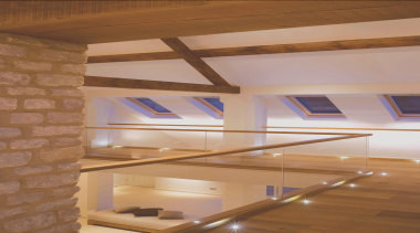 LED Lights - architecture   ceiling   daylighting architecture, ceiling, daylighting, floor, interior design, loft, stairs, wall, wood, brown, orange