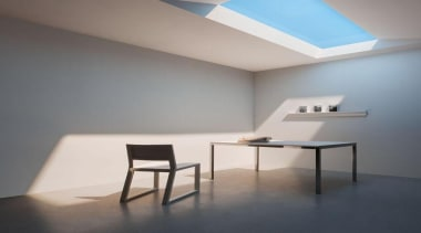 Take a close look at the skylight in architecture, ceiling, chair, daylighting, floor, furniture, interior design, light, light fixture, lighting, product design, table, wall, gray