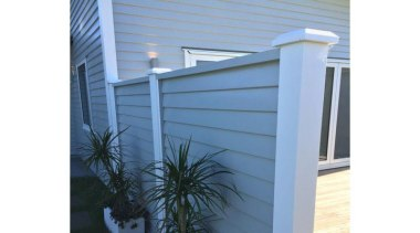 Simpler. Faster. Proven Weathertight. - A-lign Fencing - baluster, daylighting, facade, fence, handrail, home fencing, outdoor structure, real estate, siding, structure, window, teal, white