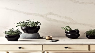 As Caesarstone's interpretation of natural Calacatta marble, Calacatta ceramic, flowerpot, houseplant, interior design, plant, product design, still life photography, table, vase, wall, white