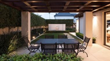 Mellons Bay 6 - backyard   courtyard   backyard, courtyard, estate, outdoor structure, patio, pergola, property, real estate, roof, yard, black