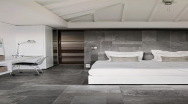 A dynamic look achieved by mixing various size architecture, ceiling, floor, flooring, interior design, laminate flooring, room, suite, tile, wall, wood, wood flooring, gray