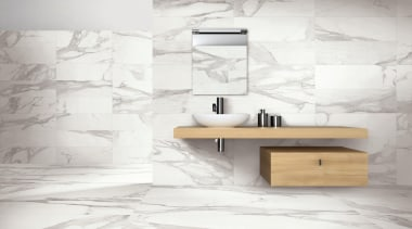 Reproducing marble using the most advanced porcelain tile angle, bathroom, bathroom accessory, bathroom cabinet, bathroom sink, ceramic, floor, flooring, furniture, interior design, plumbing fixture, sink, table, tap, tile, wall, white