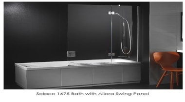 A single ended acrylic bath with reclined back angle, bathroom, bathroom sink, glass, plumbing fixture, product, tap, black