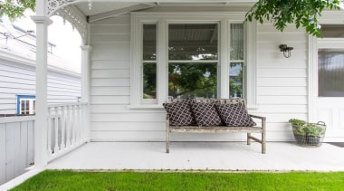 John St. 4 - backyard   door   backyard, door, estate, furniture, home, house, outdoor structure, porch, property, real estate, siding, window, white, gray
