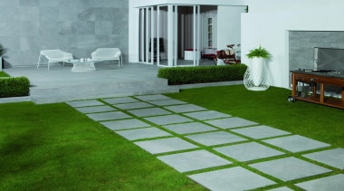 Wire grey hammered external tiles paving - Wire artificial turf, backyard, courtyard, floor, flooring, garden, grass, house, landscaping, lawn, plant, property, real estate, walkway, yard, gray, green