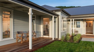 Modern villa porch and deck with Envira timber backyard, cottage, deck, door, estate, facade, home, house, outdoor structure, porch, property, real estate, residential area, siding, window, brown, gray