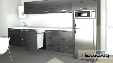 A 50L Hideaway Bin featuring in an office cabinetry, home appliance, kitchen, major appliance, product, white, gray