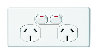 Slimline Series double horizontal socket - SC2025 - ac power plugs and socket outlets, technology, white