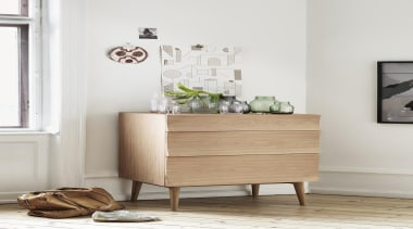 Designed by Scandinavian design company Soren Rose Studio, chest of drawers, drawer, furniture, home, interior design, nightstand, product, shelf, sideboard, table, white