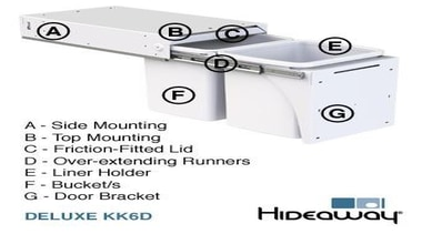 Hideaway Deluxe Range Features Diagram - Hideaway Deluxe hardware, line, material, product, product design, technology, white