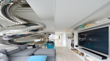 Living room with mirrored stainless steel slide and ceiling, interior design, gray