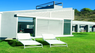 Keep your home cool with these sun louvre architecture, facade, home, house, outdoor furniture, real estate, sunlounger, white, green