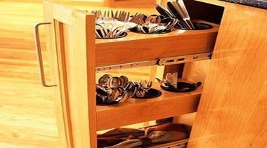 Organize all those forks and Knifes this way cabinetry, chest of drawers, drawer, flooring, furniture, hardwood, shelf, table, wood, wood stain, orange