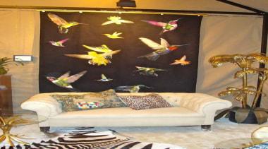 Jewel-like iridescent hummingbirds are hand woven in silk interior design, living room, room, wall, brown