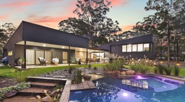 Collins w Collins architecture, backyard, cottage, estate, home, house, landscape, property, real estate, residential area, swimming pool, villa, gray, black