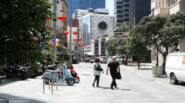NOMINEEFort Street Area Upgrade (3 of 4) - city, downtown, lane, metropolitan area, neighbourhood, pedestrian, pedestrian crossing, road, sidewalk, street, town, transport, tree, urban area, vehicle, black, white