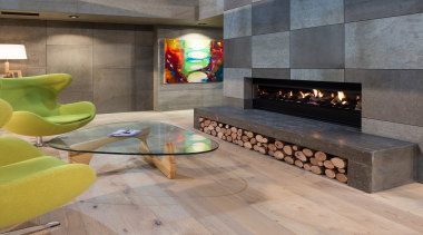IMG_6175-2 - fireplace | floor | flooring | fireplace, floor, flooring, furniture, hearth, interior design, living room, table, wall, wood flooring, gray