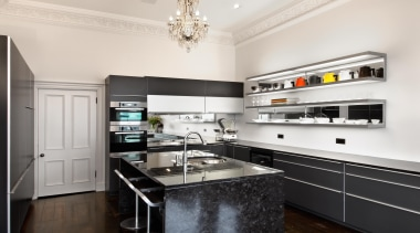 New Zealand Renovation Kitchen Designer of the Year cabinetry, countertop, cuisine classique, home appliance, interior design, kitchen, real estate, room, white, black