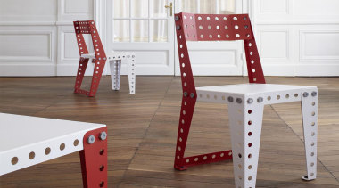 Meccano Home is a new collection from the chair, floor, furniture, product, product design, table, wood, white