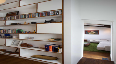 Generous storage for the new home office. - bookcase, furniture, interior design, shelf, shelving, gray