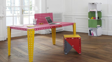 Meccano Home is a new collection from the chair, desk, floor, flooring, furniture, product, product design, table, wood, gray