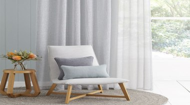 Presenting a sophisticated sheer with a soft lightweight chair, couch, curtain, cushion, floor, furniture, home, interior design, living room, table, textile, window, window covering, window treatment, gray, white