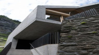 The visitor centre located at the top of architecture, building, facade, house, structure, black