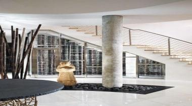 Modern Wine Cellar Ideas - Modern Wine Cellar architecture, floor, flooring, interior design, lobby, stairs, structure, white, gray