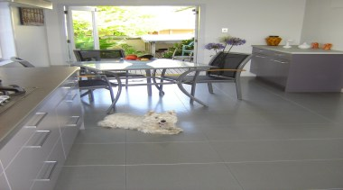 Cork Concepts provides luxury eco flooring in unlimited countertop, floor, flooring, hardwood, home, house, interior design, kitchen, laminate flooring, property, room, table, tile, wood, wood flooring, gray