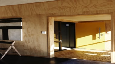 Waitakere Ranges - Studio 19 VisionWest Community Housing architecture, door, floor, home, house, interior design, wall, wood, brown
